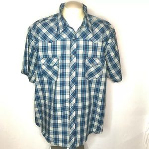Wrangler Shirt 3XL Blue Gray Plaid Pearl Snap